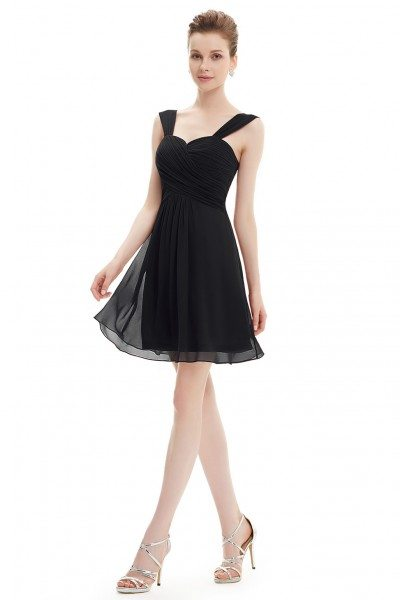 Black Elegant Ruffles Padded Chiffon Bridesmaid Dress