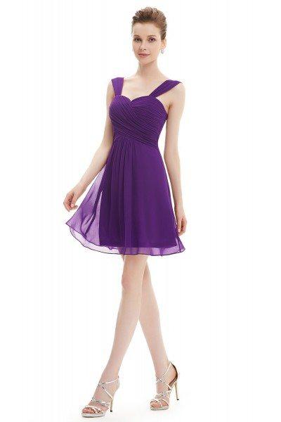 Purple Elegant Ruffles Padded Chiffon Bridesmaid Dress