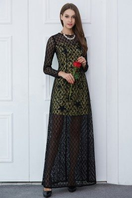Black See-through Long Sleeve Prom Dress