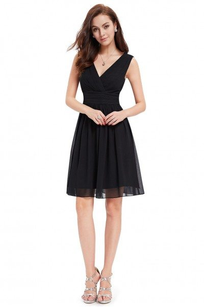 Black Double V-neck Short Party Dress