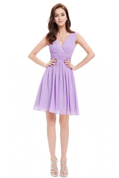 Lavender Double V-neck Short Party Dress