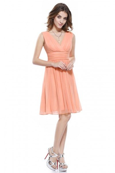 Pink Double V-neck Short Party Dress