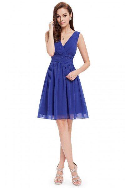 Royal Blue Double V-neck Short Party Dress