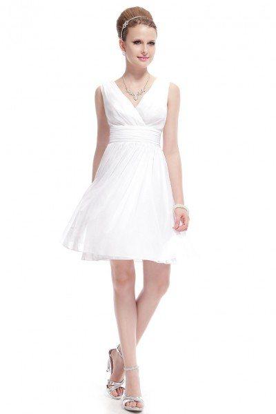 White Double V-neck Short Party Dress