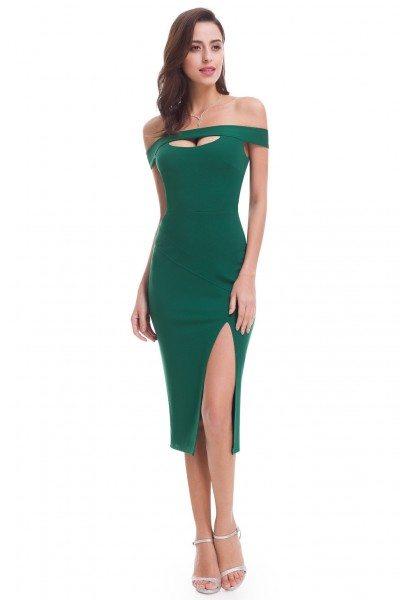 Green Sexy Off Shoulder Slit Bodycon Dress