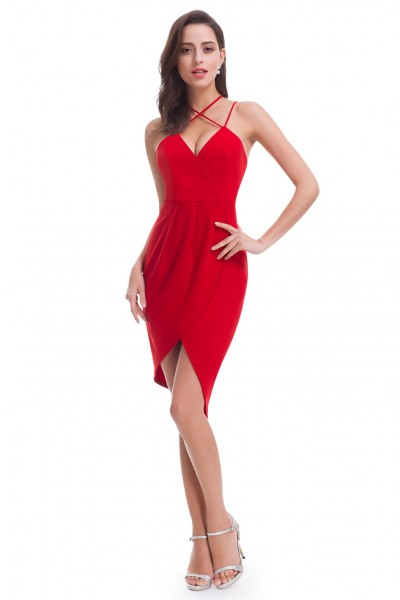 Red Sexy Cross Spaghetti Strap Cocktail Dress