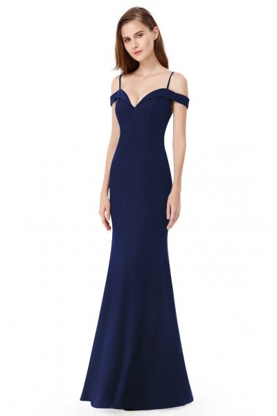 Navy Blue Off-the-shoulder Sleeveless Long Evening Party Dress