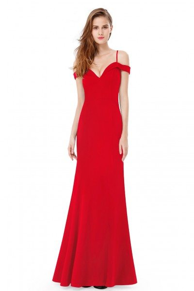 Red Off-the-shoulder Sleeveless Long Evening Party Dress