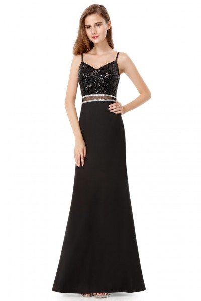 Black Sequined Sleeveless Long Evening Prom Dress