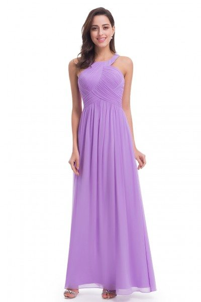 Lavender Halter Long Evening Party Dress