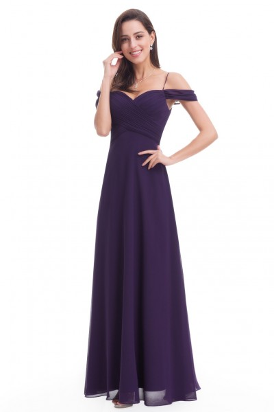 Dark Purple Chiffon Long Evening Prom Dress
