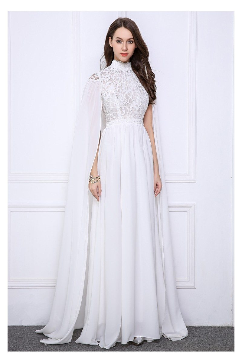 Pure White Cape Style High Neck Long Evening Gown - $141 #CK521 ...