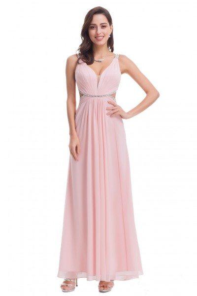 Sexy Pink Open Back V-Neck Long Prom Dress