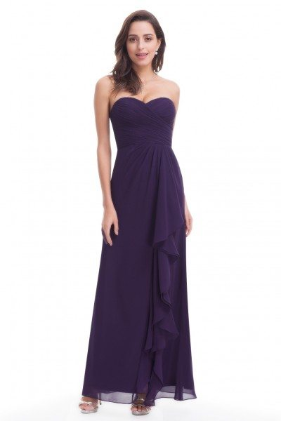 Dark Purple Chiffon Long Evening Party Dress