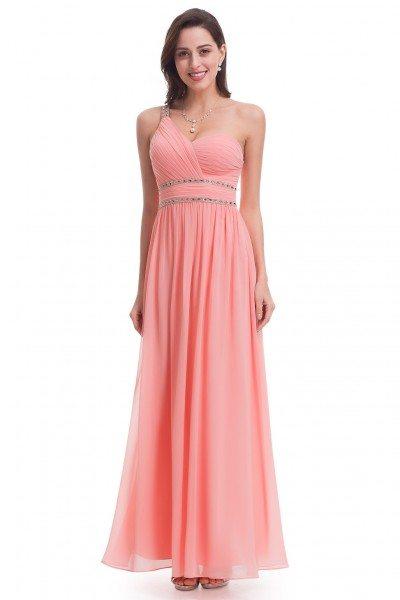 Peach One Shoulder Beaded Long Chiffon Prom Dress