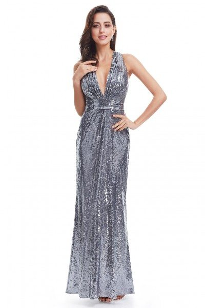 Sexy Long Deep V-Neck Sparkly Sequin Evening Dress