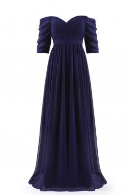 Navy Blue Off-the-Shoulder...