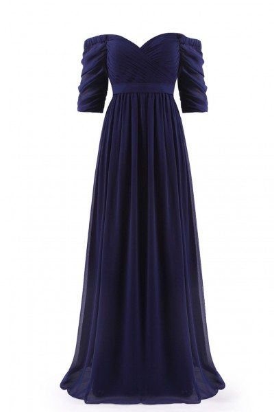Navy Blue Off-the-Shoulder Evening Gown with Sweetheart Neckline