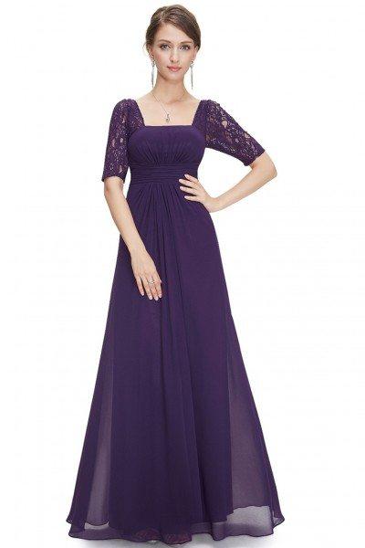 Dark Purple Lace Short Sleeve Long Evening Dress