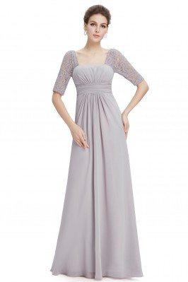 Grey Lace Short Sleeve Long...