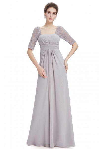 Grey Lace Short Sleeve Long Evening Dress