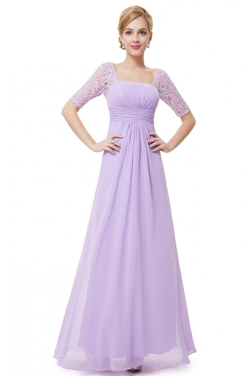 Lavender Lace Short Sleeve Long Evening Dress - $45 # ...