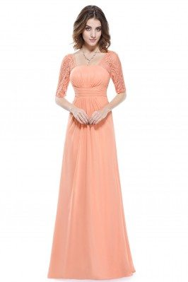 Peach Lace Short Sleeve...