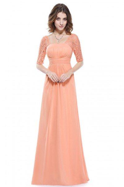 Peach Lace Short Sleeve Long Evening Dress