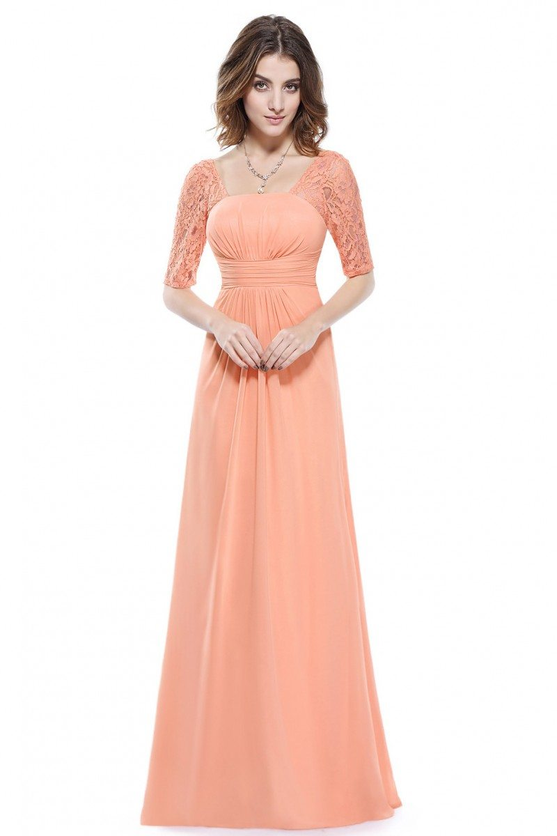 Peach Lace Short Sleeve Long Evening Dress - $52 #EP08038PE ...