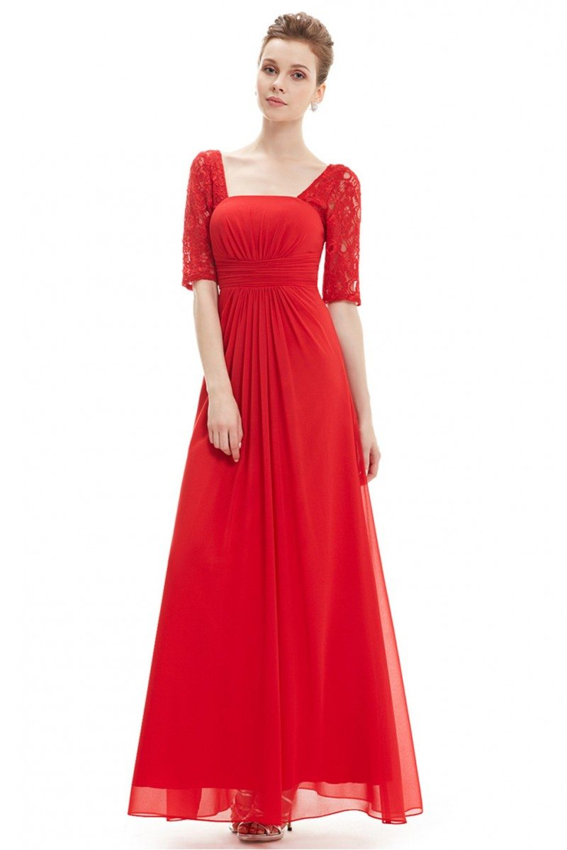 Red Lace Short Sleeve Long Evening Dress - $52 #EP08038RD - SheProm.com