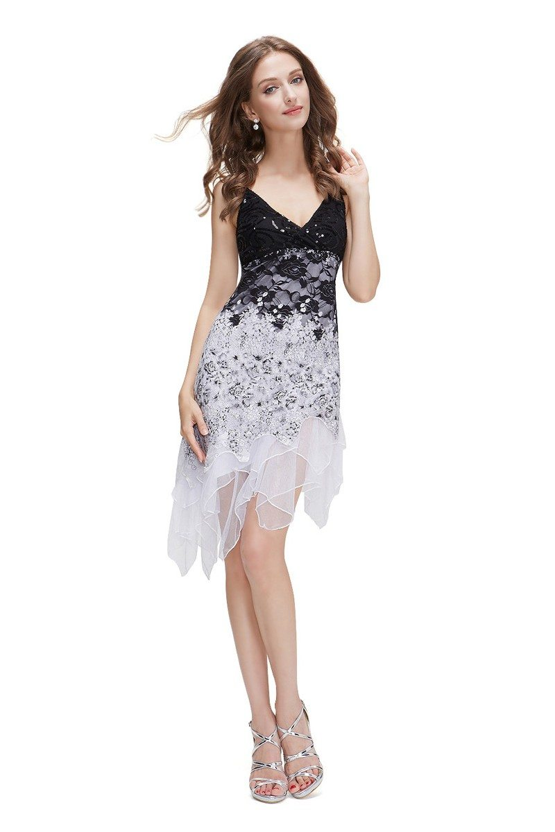 White Flowing Sequined Lace Short Party Dress