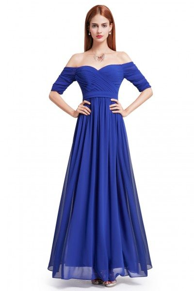 Royal Blue Off-the-Shoulder Evening Gown with Sweetheart Neckline