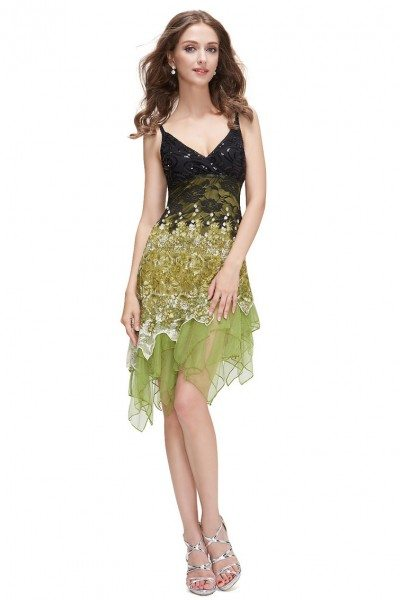 Green Flowing Sequined Lace Short Party Dress 39 Ep00045gr