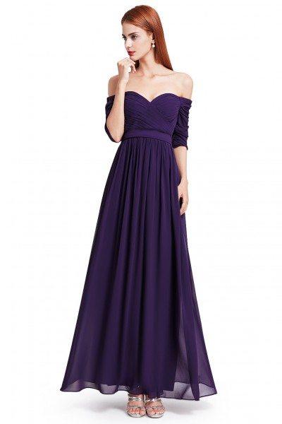 Dark Purple Off-the-Shoulder Evening Gown with Sweetheart Neckline