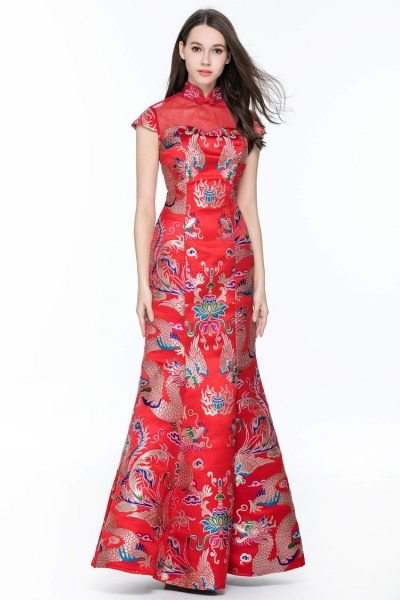 Chinese Red Cheongsam Fitted Mermaid Formal Dress