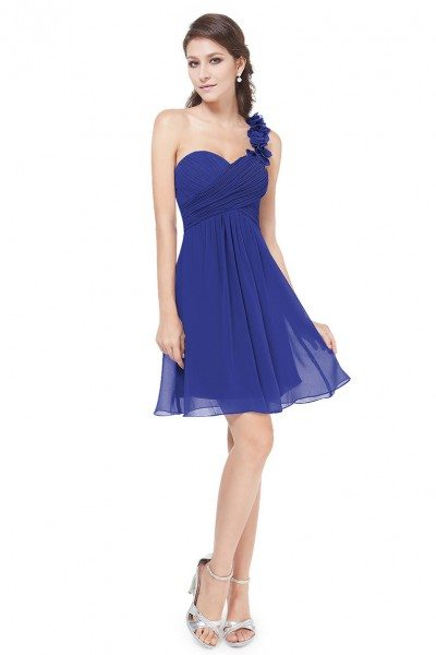 Royal Blue One Shoulder Flowers Padded Ruffles Bridesmaid Dress
