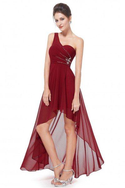 Burgundy One Shoulder Rhinestones Chiffon Hi-low Party Dress