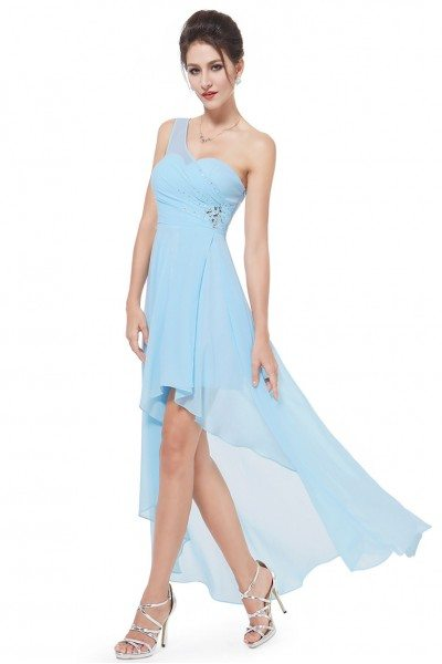 Blue One Shoulder Rhinestones Chiffon Hi-low Party Dress