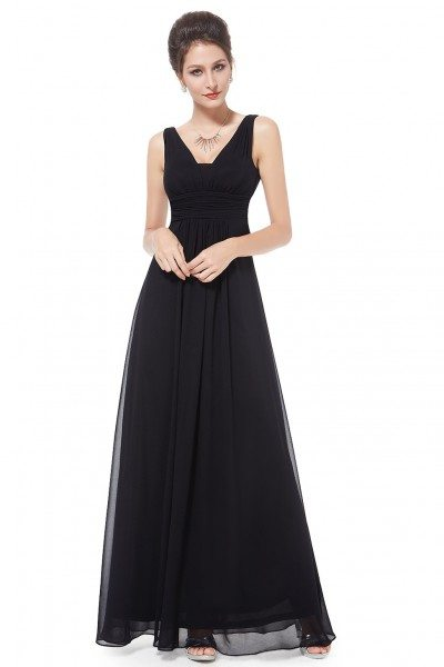 Elegant Black Deep V-neck Long Evening Dress