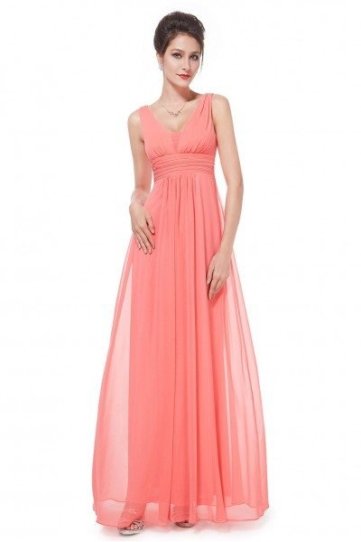 Elegant Coral Deep V-neck Long Evening Dress