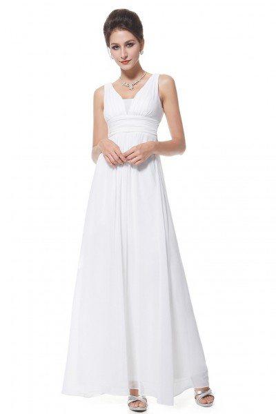 Elegant White Deep V-neck Long Evening Dress