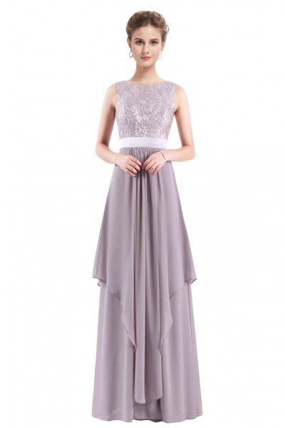 Grey Sleeveless Round Neck Long Party Dress