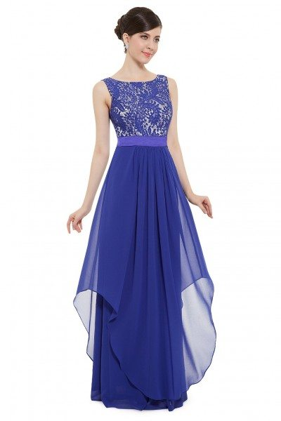 Royal Blue Sleeveless Round Neck Long Party Dress