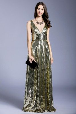 Sparkle Sequins Deep V-neck Evening Dress