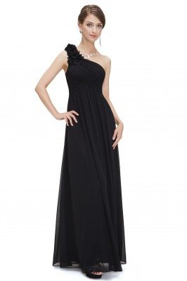 Black One Shoulder Long...