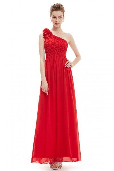 Red One Shoulder Long Chiffon Bridesmaid Dress