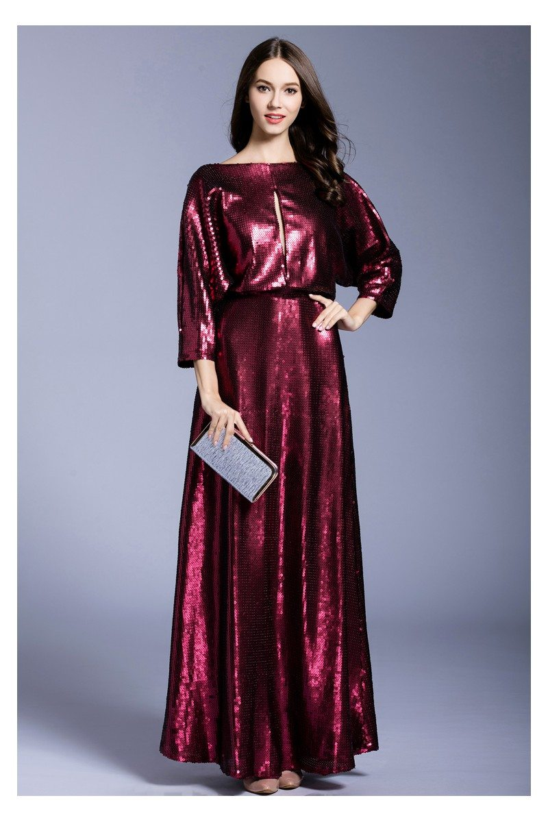 Burgundy Sequins Long Formal Gown With Sleeves - $99 #CK541 ...