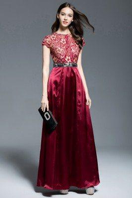 Burgundy Lace Satin Long Dress