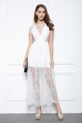 Chic Short Lace Sleeve See-through Party Dress