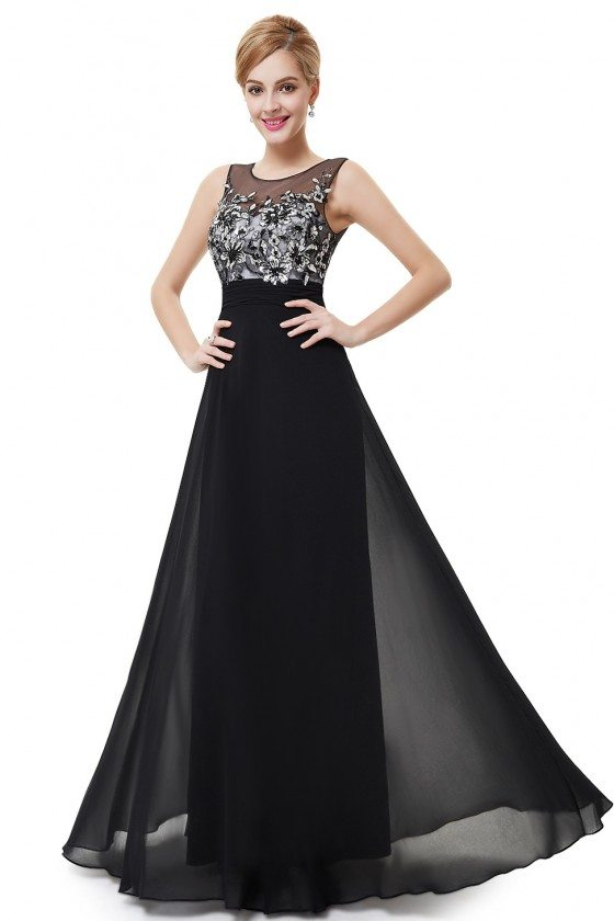 Elegant Black Chiffon Long Party Dress